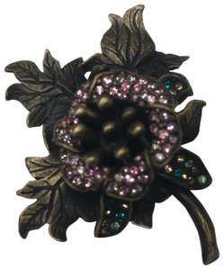 Jay Strongwater Jay Strongwater Brown Floral Pin Pink Rhinestone Coat Brooch Leaf