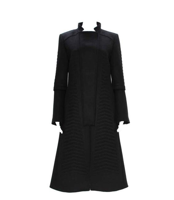Item - W A/W 2004 Tom Ford For Chevron Quilting Black Angora Wool Coat Size 4 (S)