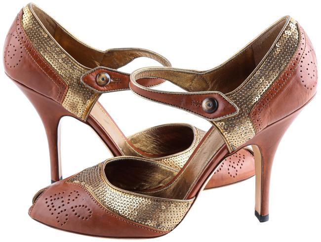 Item - Brown Gold Sequin Leather Open Toe Ankle Strappy Heels Sandals Size US 10 Regular (M, B)