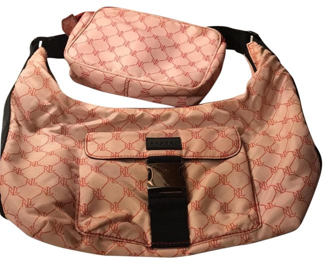 Item - Double Deal Pink/Red Coated Canvas Hobo Bag