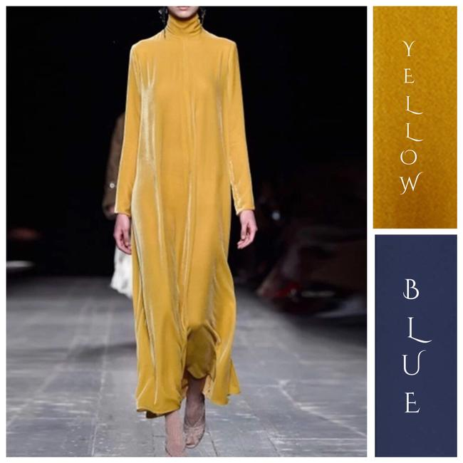 Item - Navy Blue & Yellow The Hearthya Soft Velours Long Casual Maxi Dress Size OS (one size)