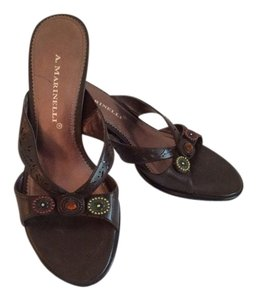 A. Martinelli Beaded Brown Sandals