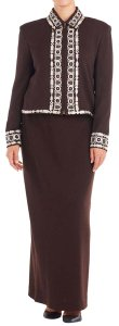 St. John St John Collection Brown Embroidered Trim Jacket & Skirt Suit #103703