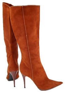 Casadei Pointed Toe Suede Leather Siena Brown Boots