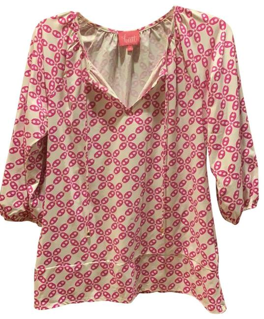 Item - White with Pink Summer Blouse Size 2 (XS)
