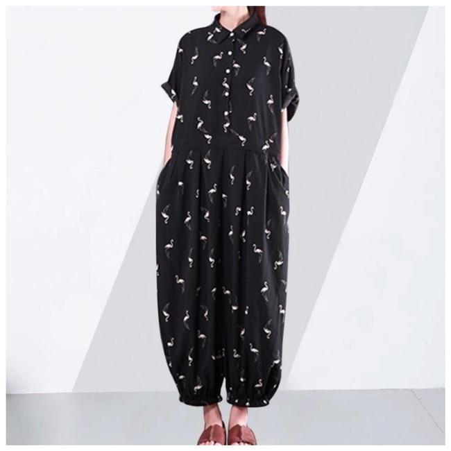 Item - Black & White Baggy The Jolson Flamingo Romper/Jumpsuit