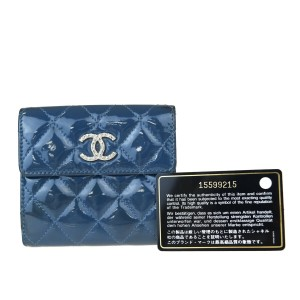 Chanel Blue Patent Leather Small Bifold Wallet