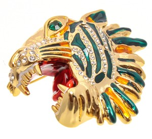 Gucci Gold-tone and Multicolor Crystal Embellished Rajah Tiger Head Brooch/Pin