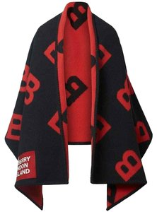 Burberry NEW BURBERRY LOGO WOOL CASHMERE B BLACK RED SCARF WRAP PONCHO CAPE