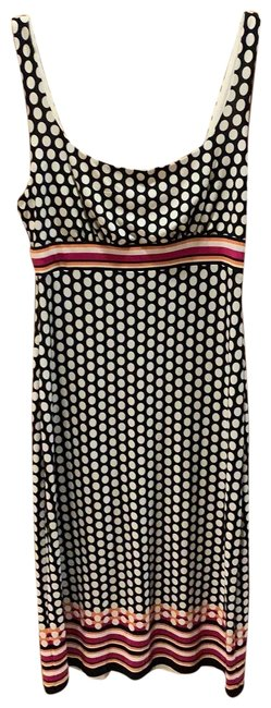 Item - Black and White Polka Dot with Pink and Orange Stripe Mid-length Cocktail Dress Size 4 (S)