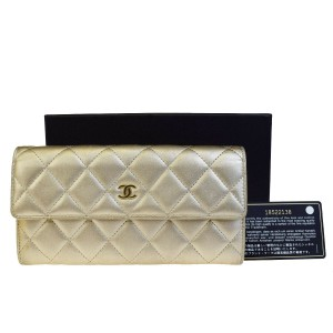 Chanel Authentic CHANEL CC Logos Quilted Long Bifold Wallet Purse Leather