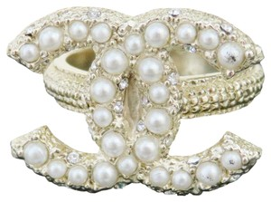 Chanel Authentic CHANEL CC Logo Imitation Pearl Ring Gold-tone Size 5