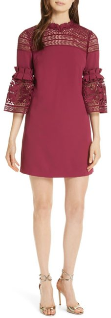 Item - Maroon Lucila Lace Panel Bell Sleeve Tunic Short Night Out Dress Size 8 (M)