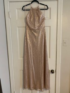 Amsale Rose Gold Sequins Tulle 44429 Formal Bridesmaid/Mob Dress Size 6 (S)