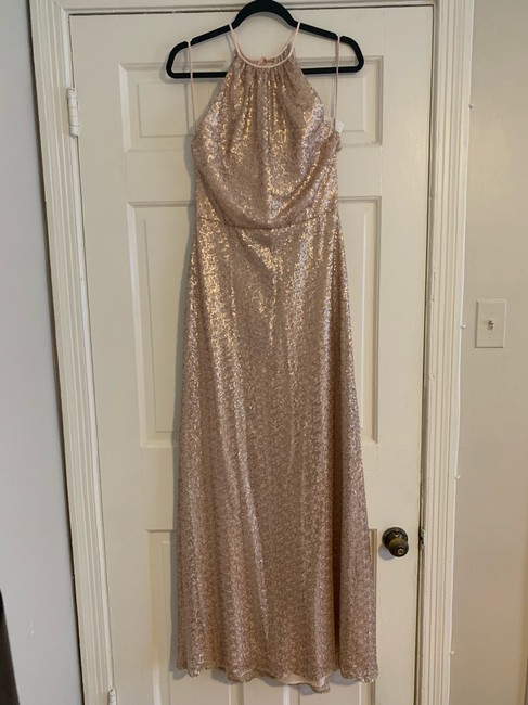 Item - Rose Gold Sequins Tulle 44429 Formal Bridesmaid/Mob Dress Size 6 (S)