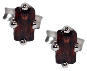 NY Collection 925 Sterling Natural Brown Garnet Push Back Womens Girls Small Stud