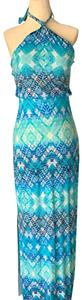 Multiple shades of turquoise Maxi Dress by Cynthia Rowley Maxi Halter