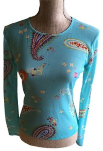 Kenneth Cole Spring Turquoise Sheer Top Paisley/Turquoise