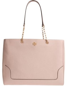 Tory Burch Leather Black Fleming Tote in light pink oak