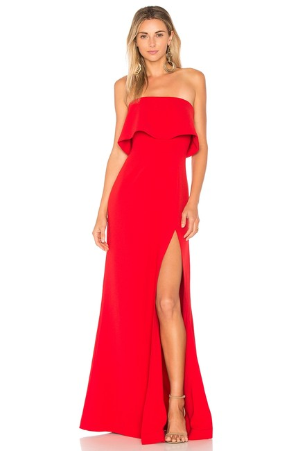 Item - Red Strapless Gown Long Formal Dress Size 4 (S)