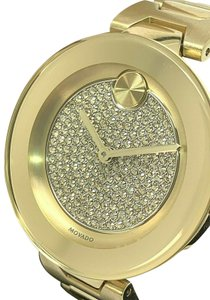 Movado Movado Bold Crystal Pave Dial Gold Tone Stainless Steel Women's Watch