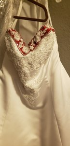 Alfred Angelo White and Cherry Satin Traditional Wedding Dress Size 16 (XL, Plus 0x)