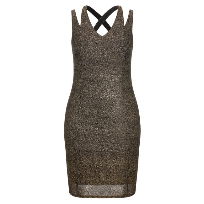 Item - Gold Metallic Mid-length Night Out Dress Size 14 (L)