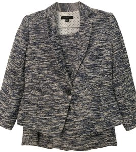 Ann Taylor Ann Taylor Blue Tweed Skirt and Jacket Suit (Size 0P)