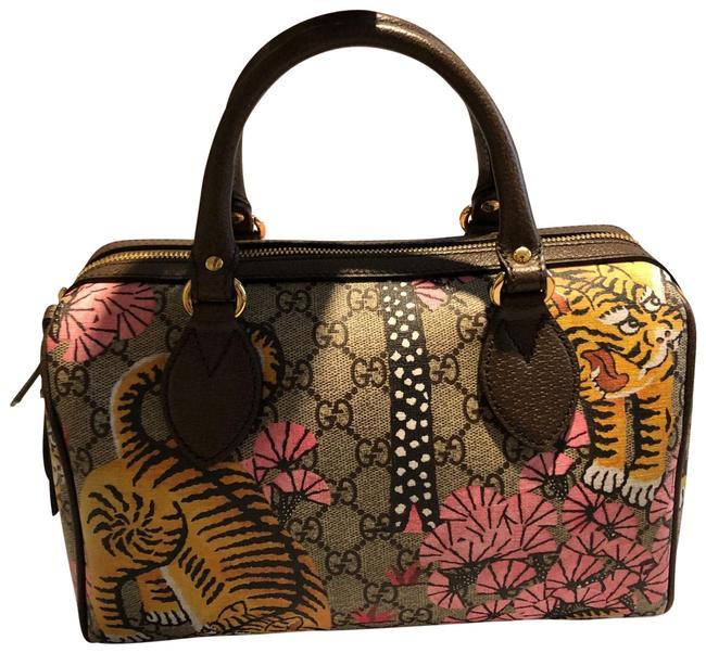 Item - Boston Supreme Bengal Tiger Canvas Satchel Tan Pink Yellow and Brown Leather Tote