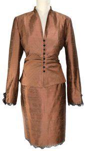 kay unger Elegant Kay Unger Raw Cappuccino Silk Dressy Evening 2-Piece Suit