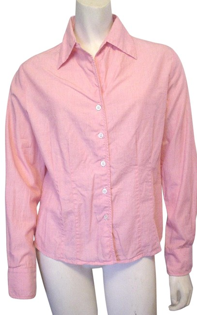 Austin Reed Pink L Blush And White Tiny Check Pattern L S Shirt Ec Button Down Top Size 8 M Tradesy