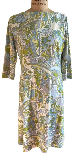 Item - Light Blue with White and Lime Green Accents Not Available Mid-length Short Casual Dress Size 8 (M)