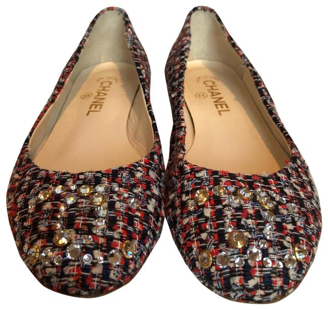 Item - Navy White Blue Red (Multicolored). Embellished Tweed Ballet Flats Size EU 39 (Approx. US 9) Regular (M, B)