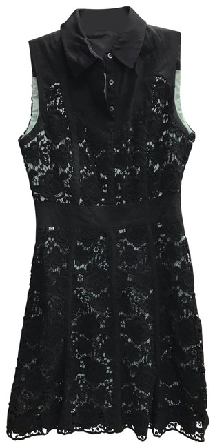 Item - Black Floral Embroidered Light Green Underlay Embroidered Short Casual Dress Size 6 (S)