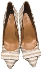 J.Crew white and tan Wedges