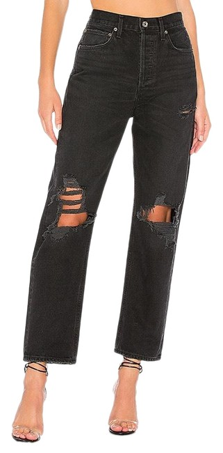 Item - Black Distressed 90's Fit Flare Leg Jeans Size 4 (S, 27)