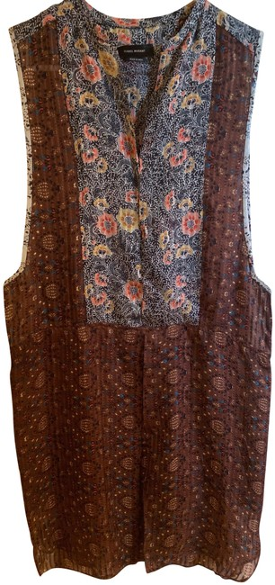Item - Brown Silk Floral Tunic Mid-length Short Casual Dress Size 2 (XS)