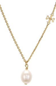 Tory Burch Logo Cultured Freshwater Pearl Necklace