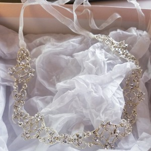 David's Bridal Gold Filigree Crystal Tieback Headband Hair Accessory