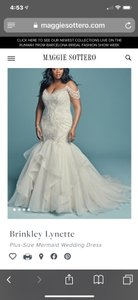 Maggie Sottero Ivory Over Soft Blush/Silver Accents Tulle and Organza with Formal Wedding Dress Size 20 (Plus 1x)