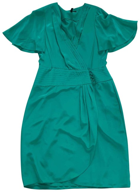 Item - Teal Like New Silk with Pockets Mid-length Cocktail Dress Size 8 (M)