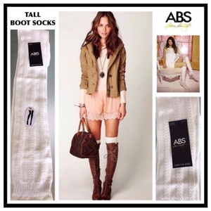 A.B.S. by Allen Schwartz ABS LUXE OVER THE KNEE IVORY BOOT SOCKS