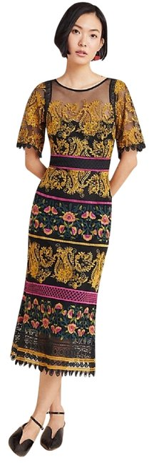 Item - Multicolor Jacquin Embroidered Mid-length Formal Dress Size 0 (XS)