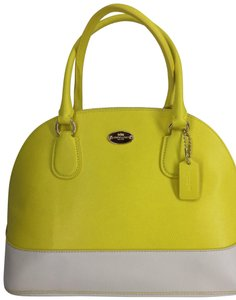 Coach Satchel in Lemon Yellow/Chalk
