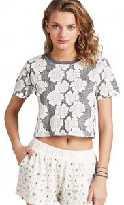 J.O.A. (Nordstrom) Floral T Shirt (Gray, Grey, White, Floral)