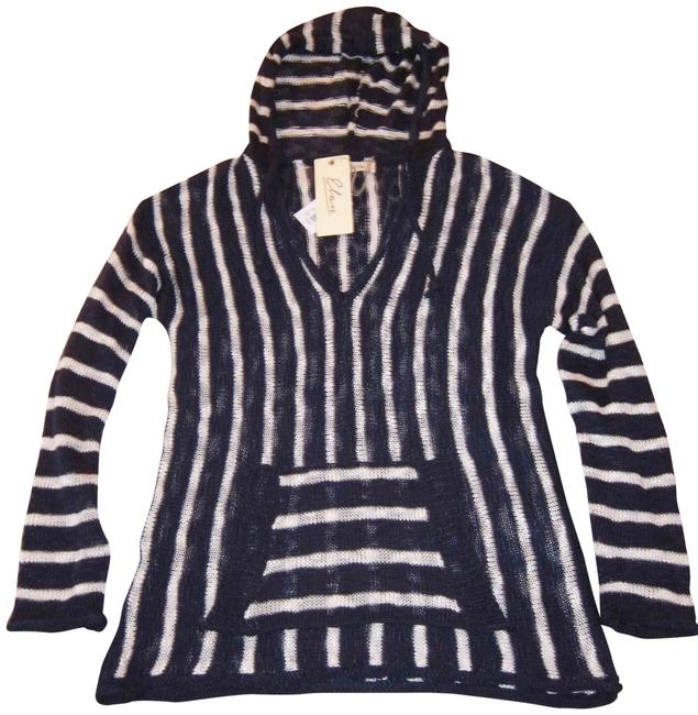 Item - Striped Knit Hooded Navy and White Sweater