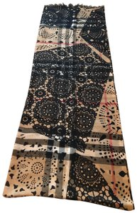 Burberry Multicolor black, light brown, white and red Burberry scarf/wrap.