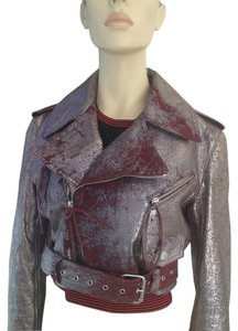 Roberto Cavalli burgundy/silver Leather Jacket