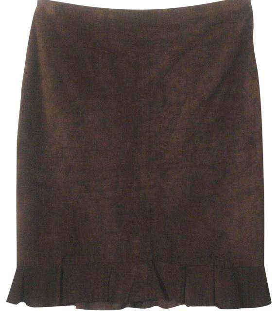 Item - Brown L Suede Straight Ruffled Hem Skirt Size 12 (L, 32, 33)