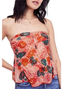 Free People Sleeveless Print Stretchy Rayon Strapless Top Multi-Color